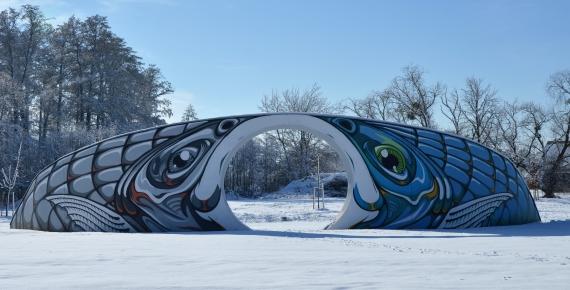Mural zimą